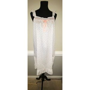 Vintage Womens Damea Nightgown SZ M White Pink